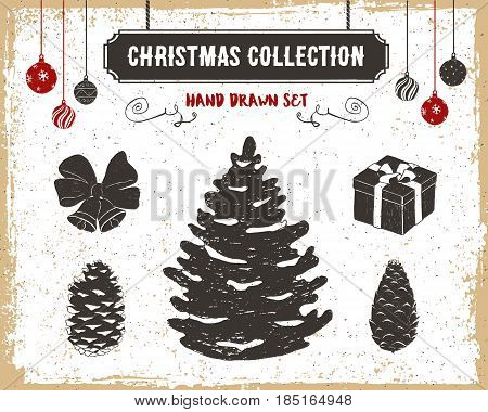 Hand drawn textured vintage Christmas icons set with fir tree cones bells present and Christmas balls vector illustrations.