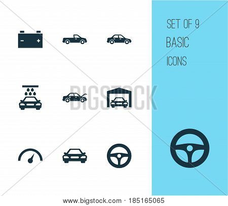 Auto Icons Set. Collection Of Accumulator, Carriage, Automobile And Other Elements. Also Includes Symbols Such As Speedometer, Auto, Chronometer.