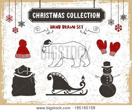 Hand drawn textured vintage Christmas icons set with knitted hat polar bear mittens Santa's sack sleigh and a snowman vector illustrations.