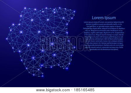 Map of Suriname from polygonal blue lines and glowing stars vector illustration
