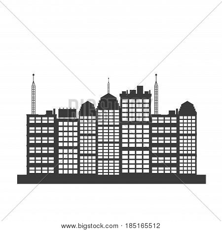 pictogrma building skyscraper downtown design vector illustration