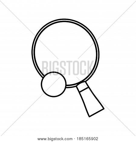 ping pong sport racket and ball hobby line vector illustration