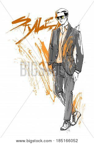 Shopping Sale Fashion Collection Style Model Male Wear Elegant Clothes Discount Sketch Vector Illustration