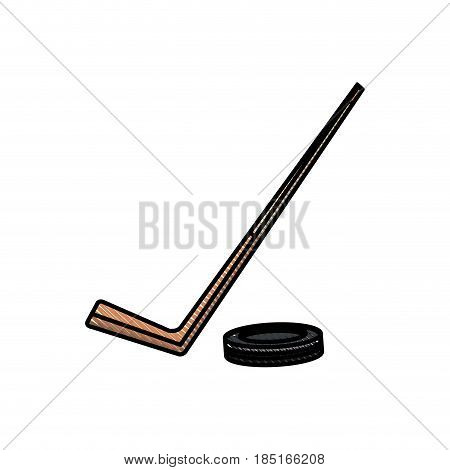 drawing hockey stick and puck sport image vector illustration