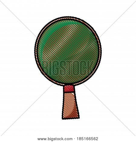 drawing racket ping pong wooden image vector illustration