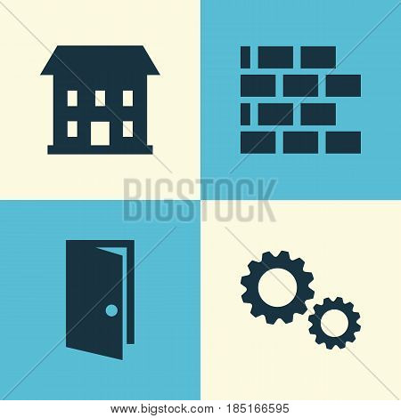 Industry Icons Set. Collection Of Cogwheel, Entrance, Wall And Other Elements. Also Includes Symbols Such As Entrance, Brickwork, Cogwheel.