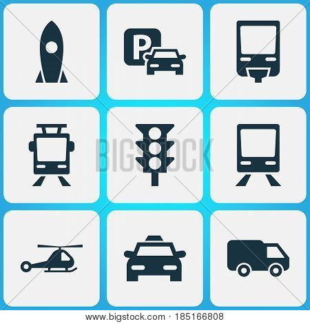 Transport Icons Set. Collection Of Railway, Chopper, Cab And Other Elements. Also Includes Symbols Such As Wagon, Car, Taxi.