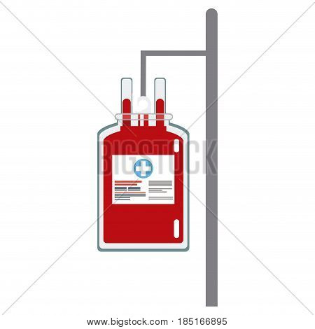 bag blood hanging trasnfusion donation vector illusration