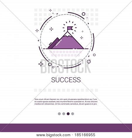 Business Success Leadership Mountain Top Banner With Copy Space Vector Illustration