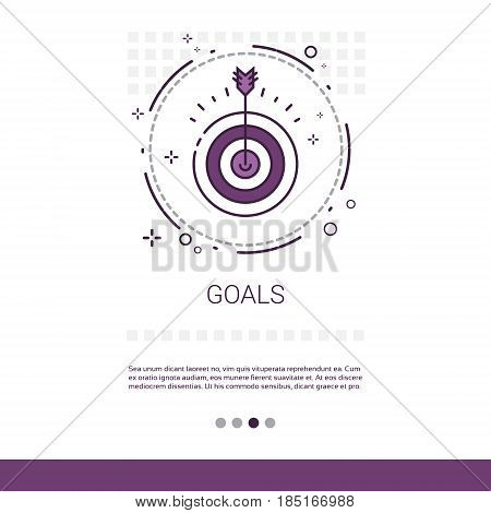 Archery Goal Business Target Banner With Copy Space Vector Illustration