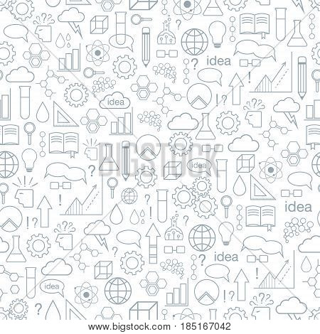 Inspiration and idea. Seamless pattern. Vector background with line art icons.