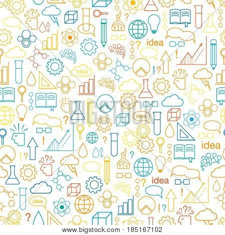 Inspiration and idea. Seamless pattern. Vector background with line art icons. Multicolor variant