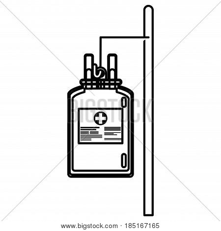bag blood hanging trasnfusion donation line vector illusration