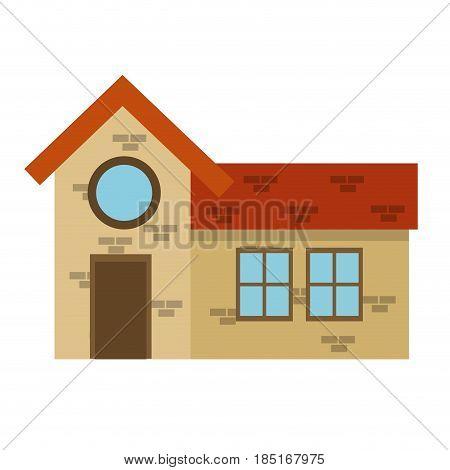 house home brick round window brick architecture vector illustration