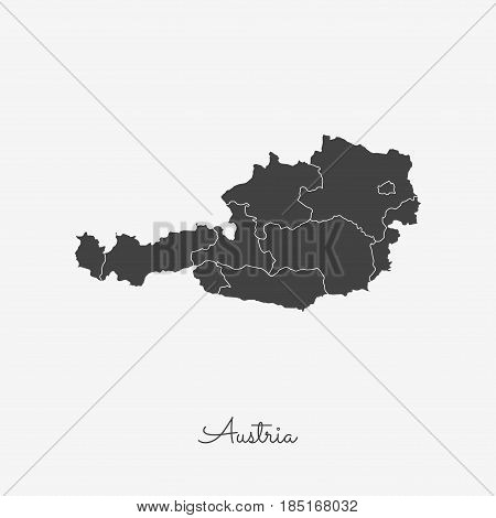 Austria Region Map: Grey Outline On White Background. Detailed Map Of Austria Regions. Vector Illust