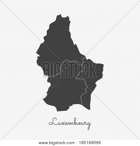 Luxembourg Region Map: Grey Outline On White Background. Detailed Map Of Luxembourg Regions. Vector