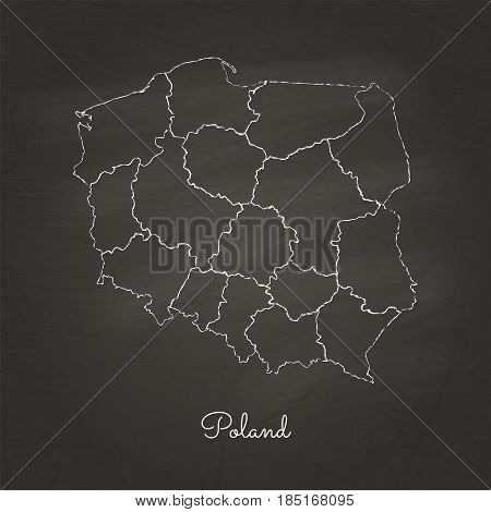 Poland Region Map: Hand Drawn With White Chalk On School Blackboard Texture. Detailed Map Of Poland