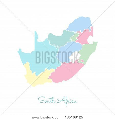 South Africa Region Map: Colorful With White Outline. Detailed Map Of South Africa Regions. Vector I