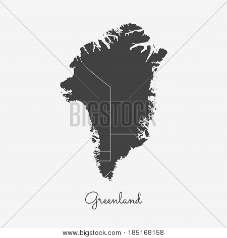 Greenland Region Map: Grey Outline On White Background. Detailed Map Of Greenland Regions. Vector Il