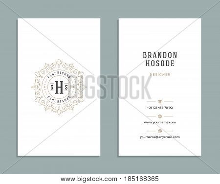 Vintage Ornament Business Card Vector Template. Retro Luxury Style, Royal Design. Flourishes Ornamental frame, Vintage Logo and Background.