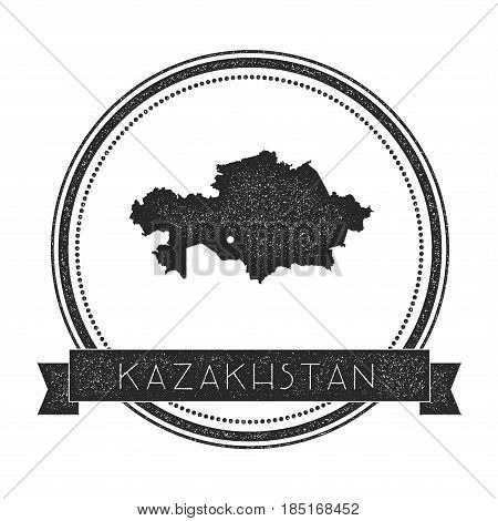 Retro Distressed Kazakhstan Badge With Map. Hipster Round Rubber Stamp With Country Name Banner, Vec