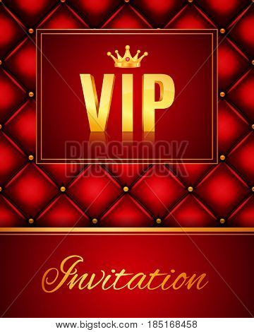 VIP abstract quilted background. Vip party invitation. Golden letters with crown. EPS10 vector