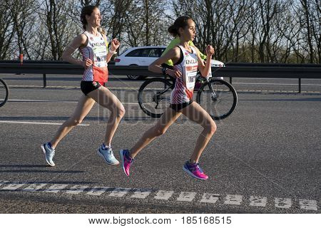 FREDERICIA DENMARK - MAY 6 2017: Leading female group runners Hannah Walker and Victoria Knight Little Belt Half Marathon Race Denmark. May 6 2017.