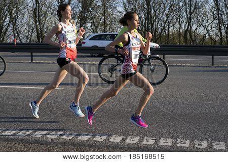 FREDERICIA DENMARK - MAY 6 2017: Leading female group runners Hannah Walker and Victoria Knight Little Belt Half Marathon Race Denmark. May 6 2017.