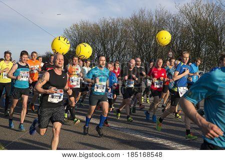 FREDERICIA DENMARK - MAY 6 2017: Little Belt Half Marathon Race between Middelfart and Fredericia over the New Little Belt Bridge in Denmark. May 6 2017.
