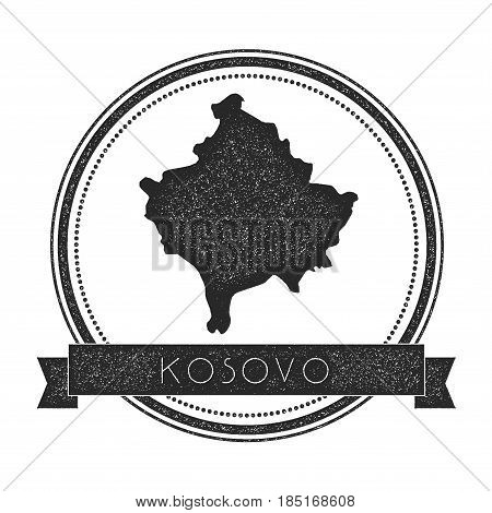 Retro Distressed Kosovo Badge With Map. Hipster Round Rubber Stamp With Country Name Banner, Vector