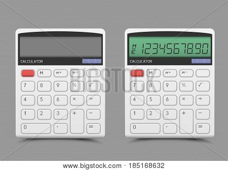 Turn on and off white calculator with shadow on gray background. Modern count tool
