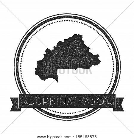 Retro Distressed Burkina Faso Badge With Map. Hipster Round Rubber Stamp With Country Name Banner, V
