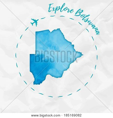Botswana Watercolor Map In Turquoise Colors. Explore Botswana Poster With Airplane Trace And Handpai