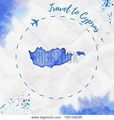 Cyprus Watercolor Map In Blue Colors. Travel To Cyprus Poster With Airplane Trace And Handpainted Wa