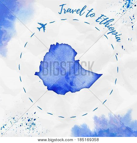 Ethiopia Watercolor Map In Blue Colors. Travel To Ethiopia Poster With Airplane Trace And Handpainte