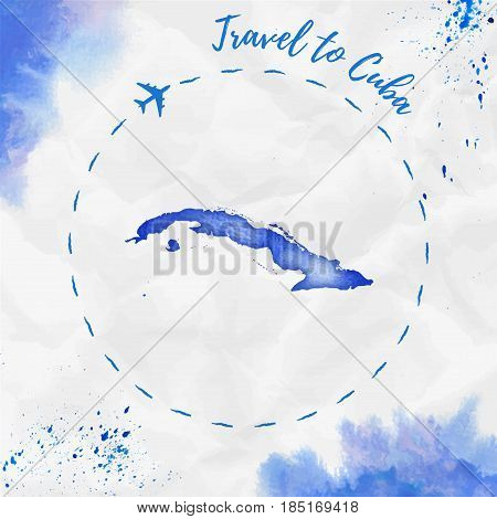Cuba Watercolor Map In Blue Colors. Travel To Cuba Poster With Airplane Trace And Handpainted Waterc