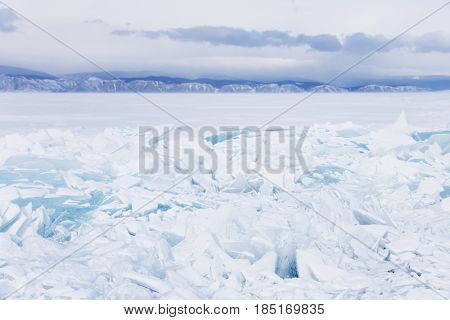 Winter Landscape. Baikal Lake Hummock