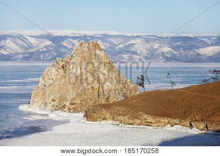Rock Shamanka. Cape Burhan. Lake Baikal, Winter Landscape.