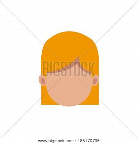 cartoon woman head faceless hair style vector illusrtation