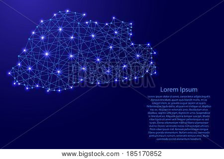 Map of Bhutan from polygonal blue lines and glowing stars vector illustration