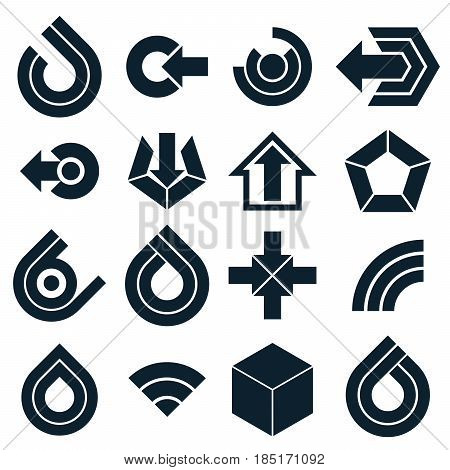 Vector Black Simple Navigation Pictograms Collection. Set Of Flat Corporate Abstract Design Elements