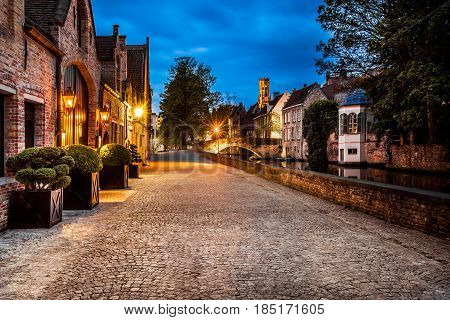 Night view of Bruges street, Belgium, nightshot of Brugge canals, traditional belgium architecture