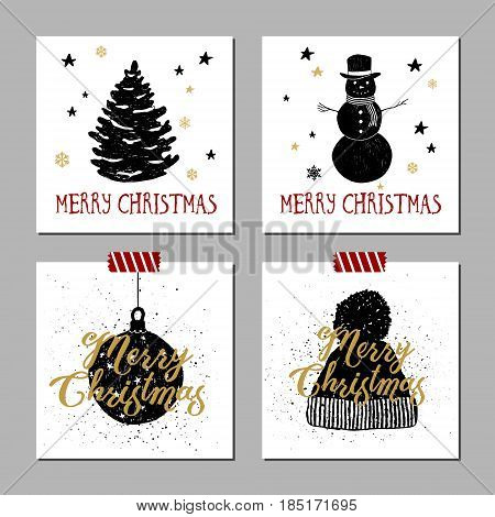 Hand drawn Christmas cards set with textured fir tree snowman Christmas tree ball knitted hat vector illustrations.