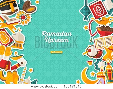 Ramadan Kareem Banner With Flat Sticker Icons. Vector illustration. Islamic Concept. Vertical Borders with Place for your Text on Blue Background. Koran, Traditional Lanterns, Dates