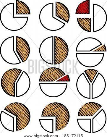 Pie Chart Icon Set  Raster Illustration