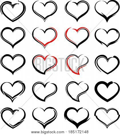 Heart Icon Sketch Style  Raster Illustration