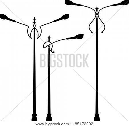Street Light Icon, Silhouette  Raster Illustration