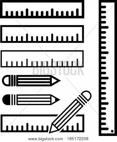 Ruler Icon  Raster Illustration