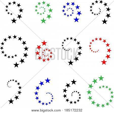 Stars In Spiral  Raster Illustration