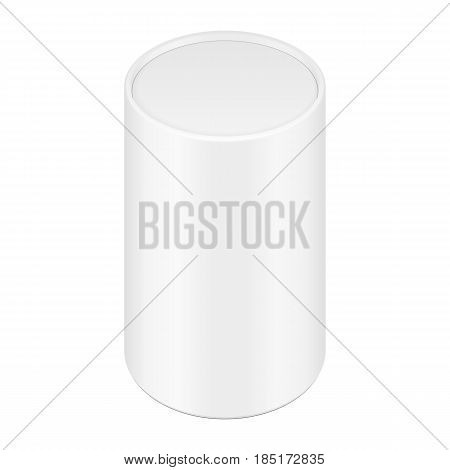 White Cardboard Paper Tube Tubus Cilinder Box Container Packaging. Food, Gift Products. Illustration Isolated On White Background. Mock Up Template Ready For Your Design. Product Packing Vector EPS10